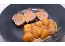 Filet mignon au maroilles (avec champignons et pommes de terre)